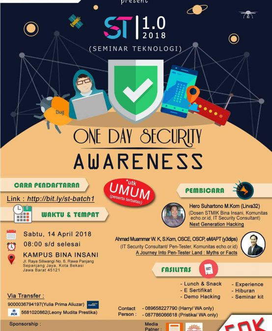 Seminar Teknologi 1.0 One Day Security Awareness